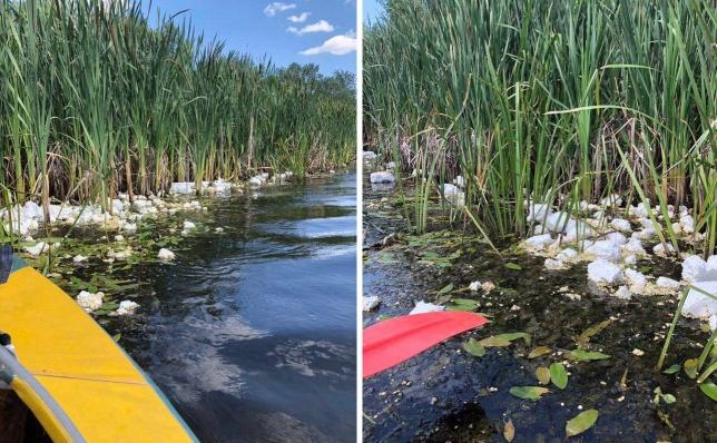 b6c4aaf47b2e98 Несколько километров реки на Полтавщине покрыто пенопластом (фото ...