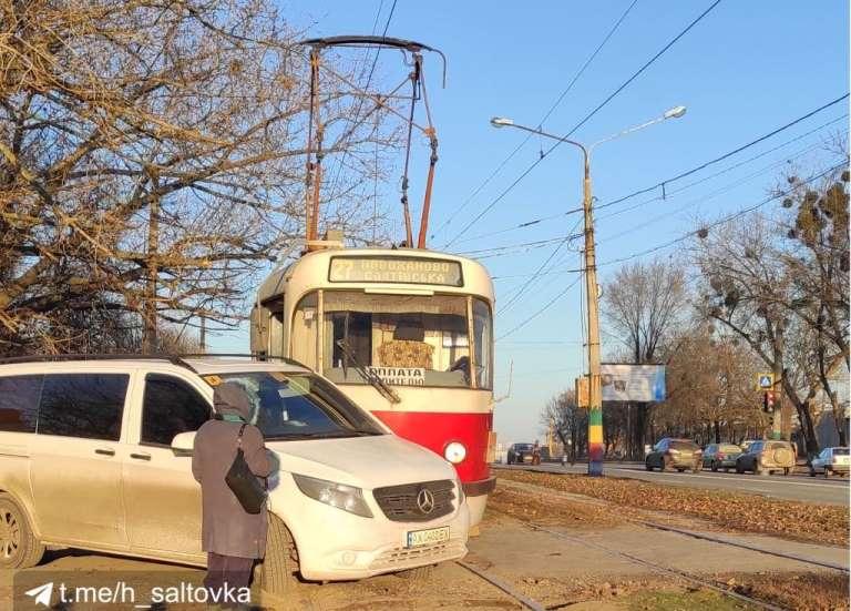 салтовка, трамвай, авария, микроавтобус